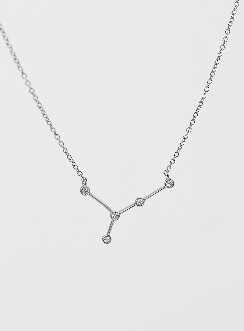 Star Sign Necklace Cancer White Gold