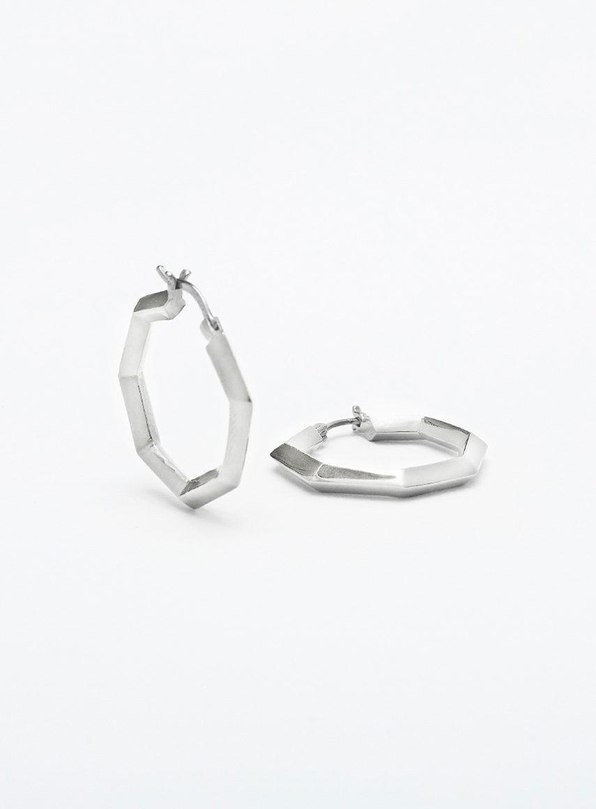 medium prisma hoops silver
